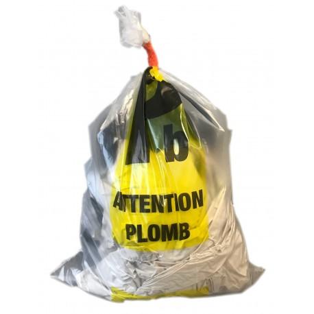 100 Sacs déchets transparent marqués Plomb 730 x 1100