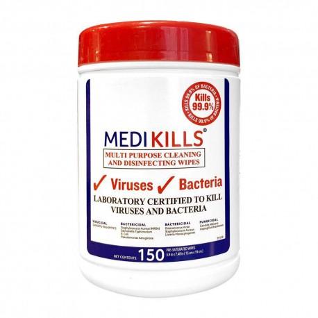 Lingettes nettoyantes / désinfectantes MEDIKILLS (boite de 150)