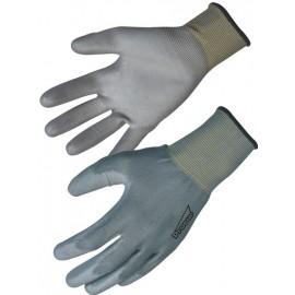 Sachet de 10 Gants gris de manutention légère polyester enduit polyuréthane T 10