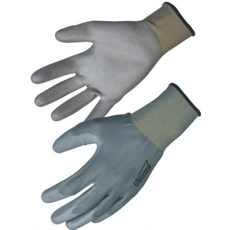 Sachet de 10 Gants gris de manutention légère polyester enduit polyuréthane T 9