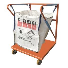 Support Big Bag acier peinture Epoxy sur roulettes et fond plat