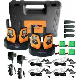 4 talkies-walkies PMR DeTeWe Outdoor 8000 Quad Case avec mallette