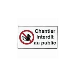 Étiquette Chantier interdit au Public 18 x 30 cm par lot de 10