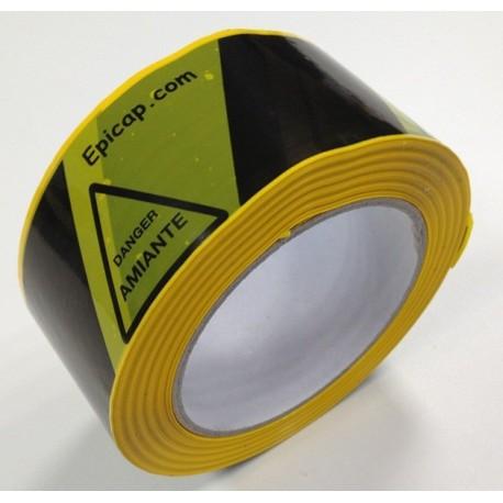 Adhésif de balisage zébré Jaune/noir avec triangle danger Amiante par carton de 36
