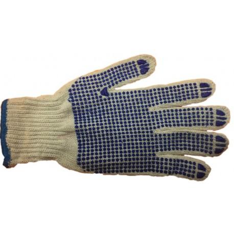 12 Paires de gant coton picots bleu 1 face Taille 10